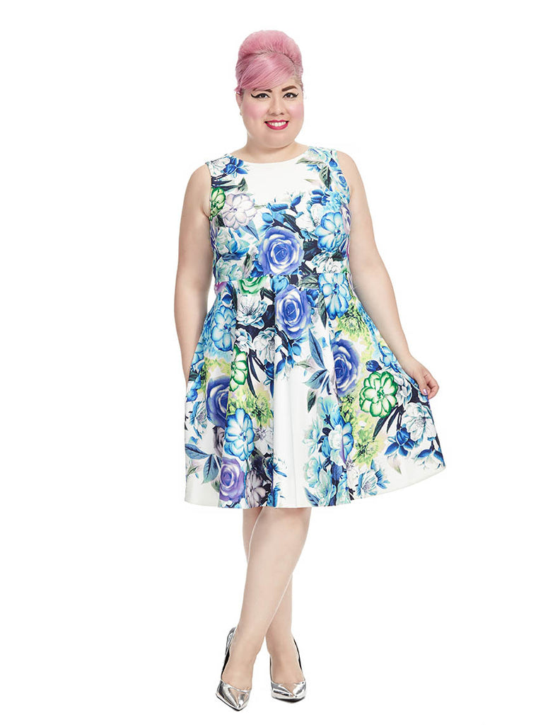 Sleeveless Floral Dress In Ivory