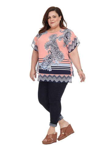 Coral Mixed Print Top
