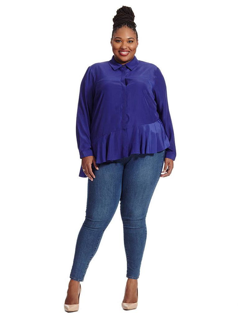 Clea Ruffle Hem Blouse In Deep Purple