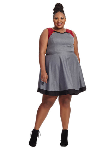 Herta Colorblock Dress In Gray