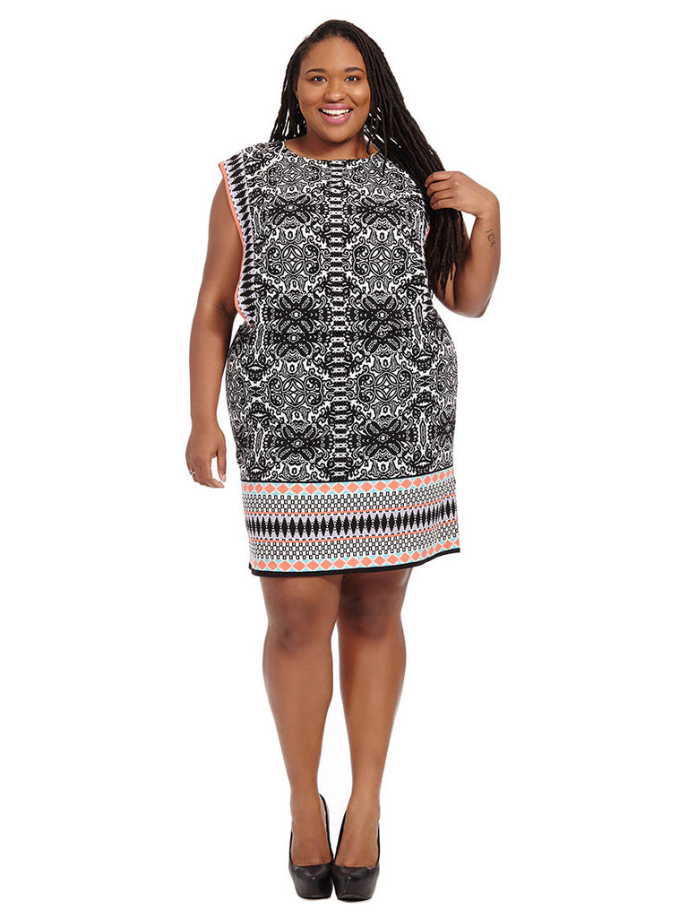 Blouson Dress With Border Print