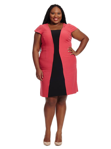 Flare Red & Black Colorblock Dress
