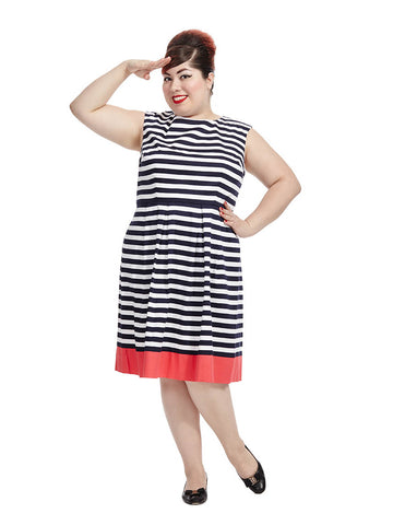 Navy Dress With Contrast Border