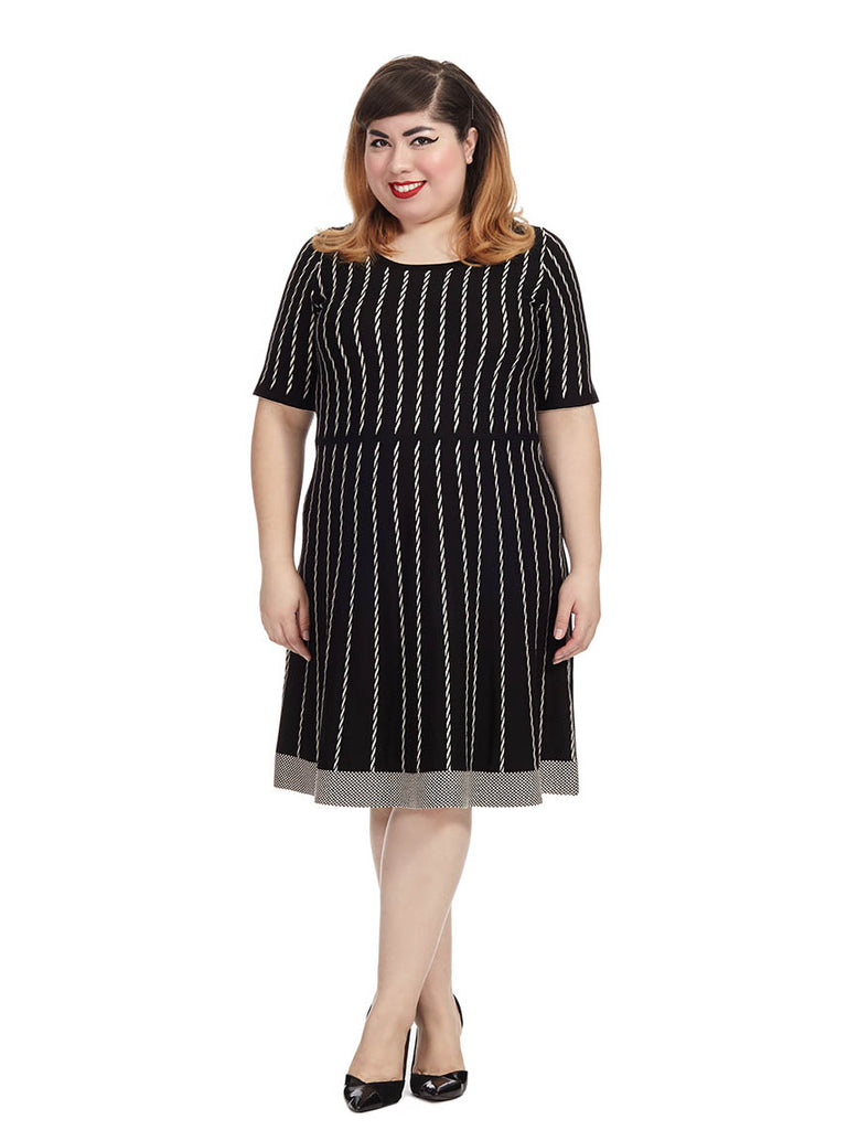 Black Stripe Sweater Dress