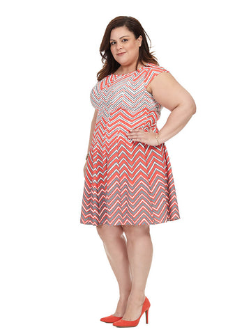 Coral Chevron Fit & Flare Dress