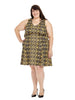 Yellow Diamond Print Scuba Dress