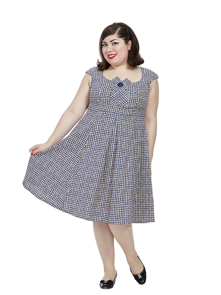Kate Dress In Navy Button Spot
