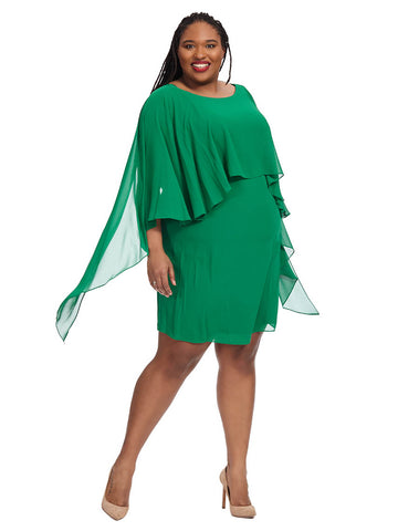 Mini Dress With Cape In Emerald