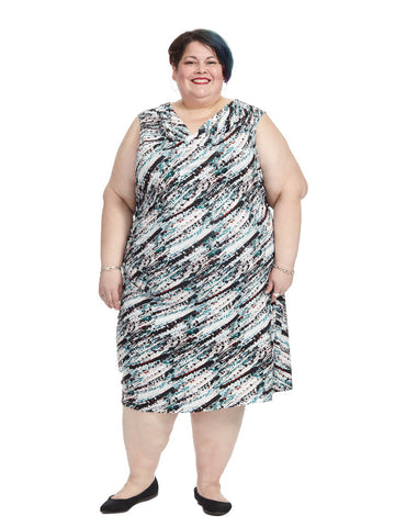 Abstract Printed Ruched Dress
