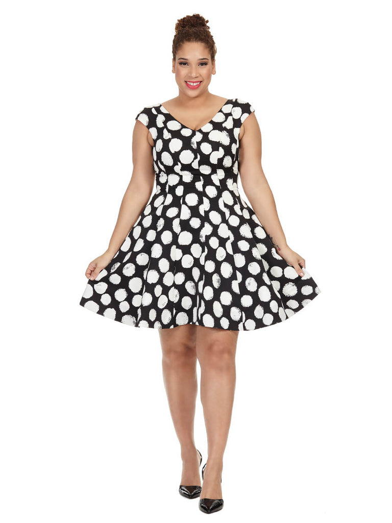 Dress in Black & White Polka Dot