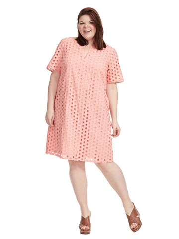Coral Eyelet Shift Dress