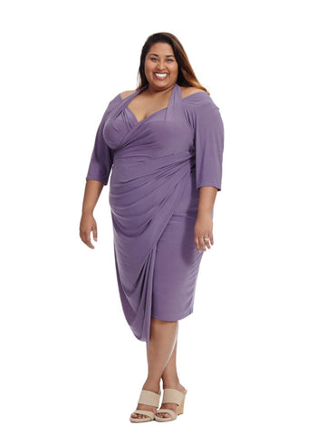 Foxfire Faux Wrap Dress in Purple