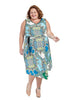 Blouson Dress In Blue Medallion Print