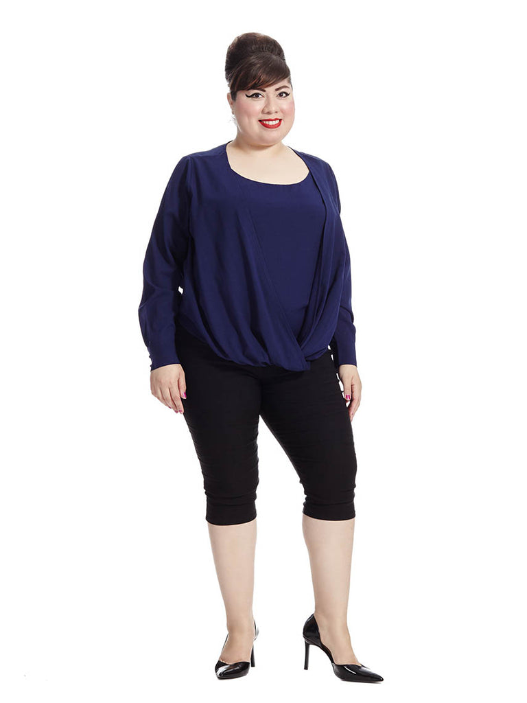 Draped Front Blouse In Royal Blue