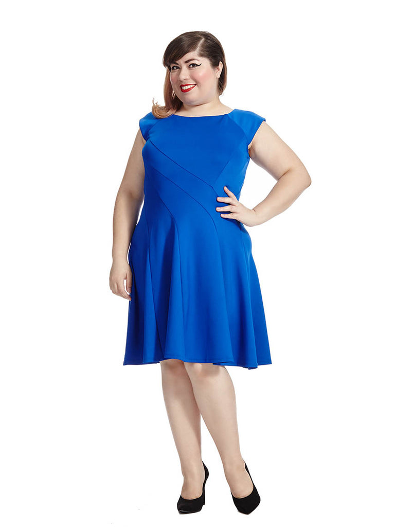 Textured Dress In Royal Blue