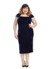 Navy Pleat Shoulder Velour Dress