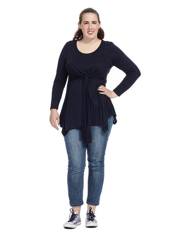 Tie Front Top In Midnight