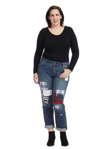 Plaid Patchwork Jean