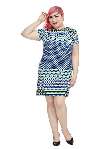 Shift Dress In Chevron Geo Print