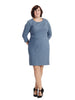 Seamed Sheath Dress In Petrol Blue
