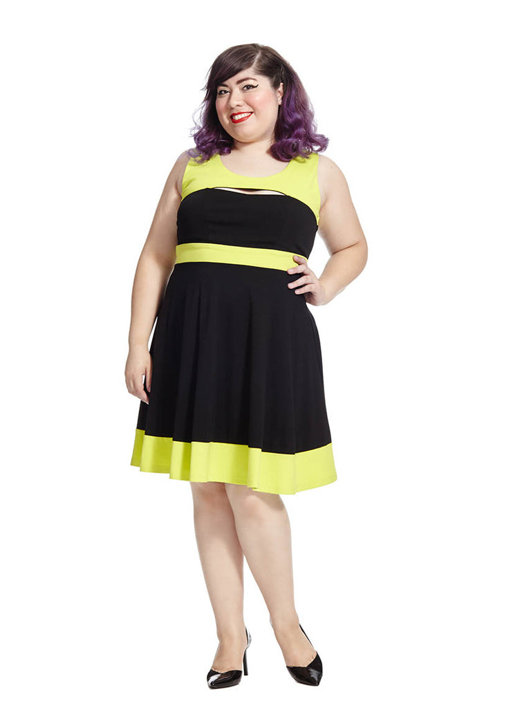 Colorblocked Peekaboo Dress In Yellow And Black