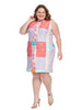 Scuba Sheath Dress In Patchwork
