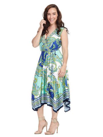 Paisley Print Faux Wrap Dress
