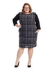 Long Sleeve Plaid Front Dress