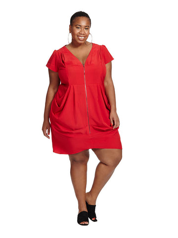 Zip Front Tunic Dress In Red