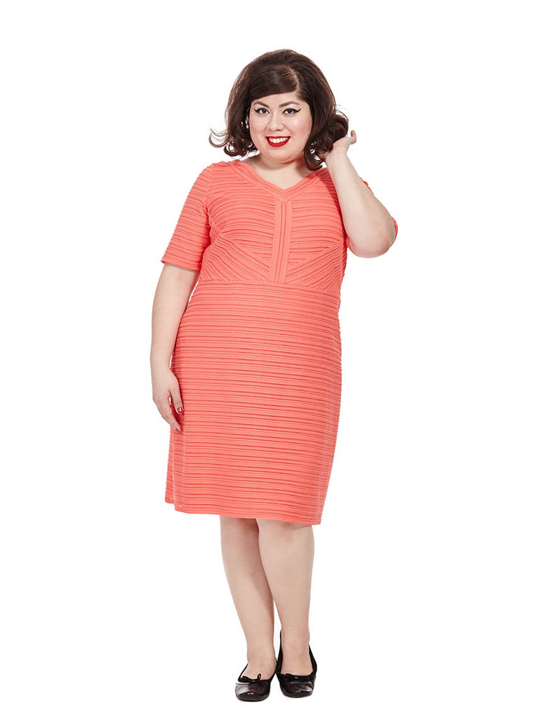 Stripe Knit Dress In Coral