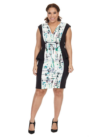 Abstract Printed Peplum Scuba Dress