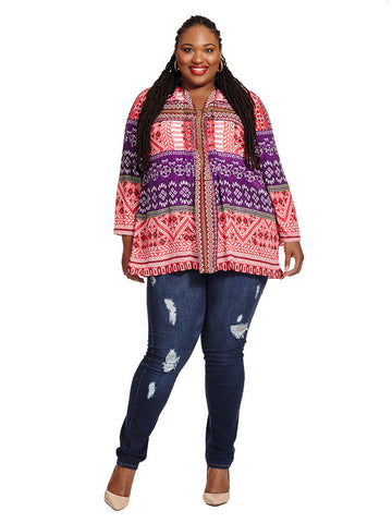 Tunic In Red & Purple Criss Cross Print