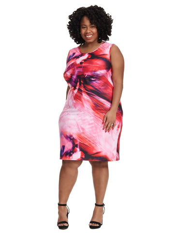 Digital Print Scuba Dress in Fuschia