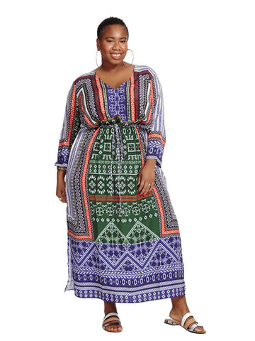Drawstring Maxi In Blue & Green Criss Cross Print