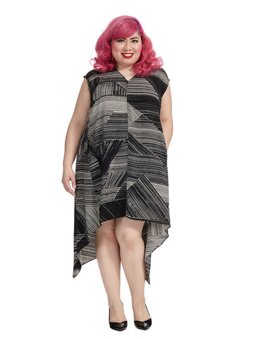 Sydney Dress In Black And Ivory Print