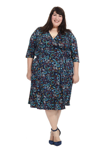Essential Wrap Dress In Navy Floral Print