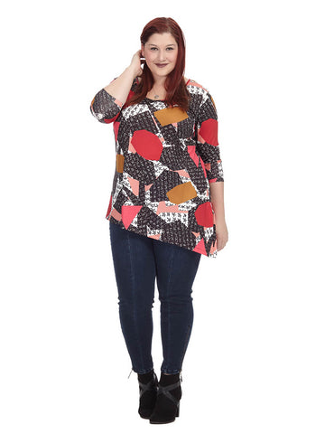 Geometric Printed Long Sleeve Asymmetric Tunic
