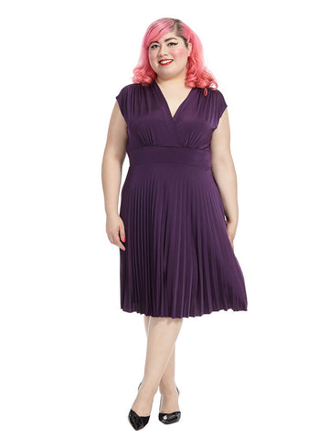 Coco Pleated Dress In Deep Purple
