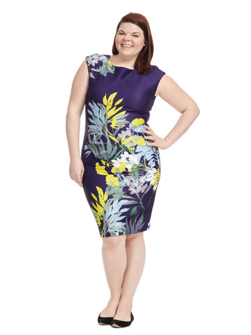 Exotic Leaf Print Bodycon Dress In Navy