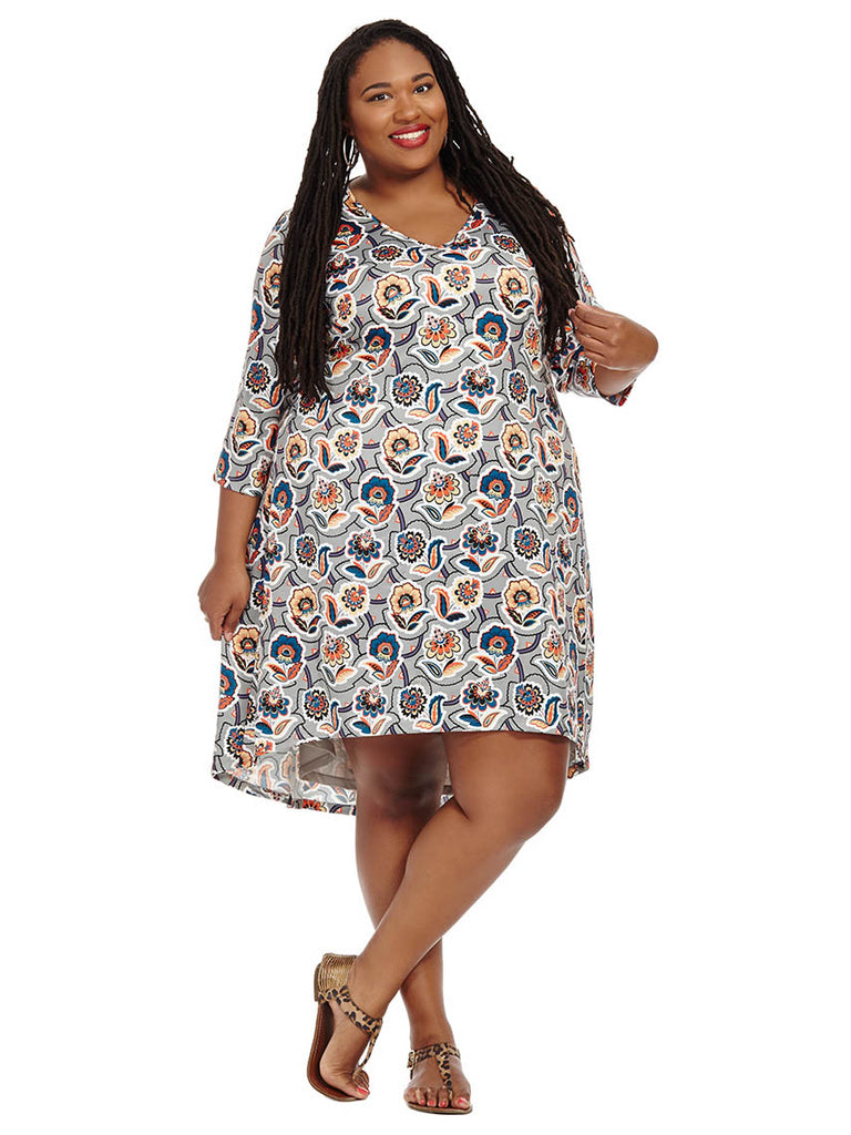 Floral Printed Hi-Lo Dress