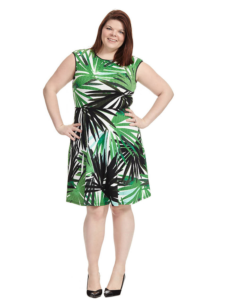 Textured Dress In Jungle Palm Print