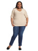 Mallory Dolman Mixed Media Top In Oatmeal