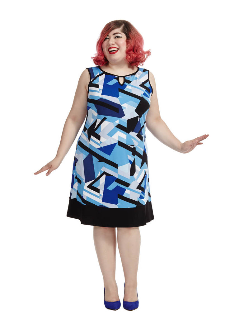 Keyhole Dress In Shattered Blue Print