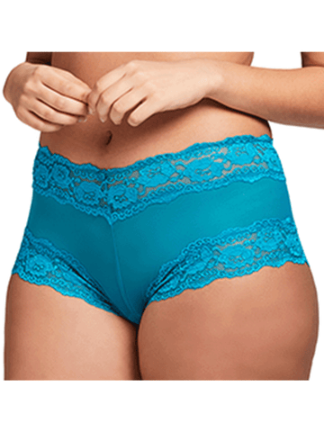 Kelly Lace and Mesh Boyleg Panty In Deep Sea