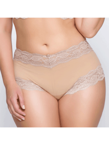 Kelly Lace and Mesh Boyleg Panty In Suntan