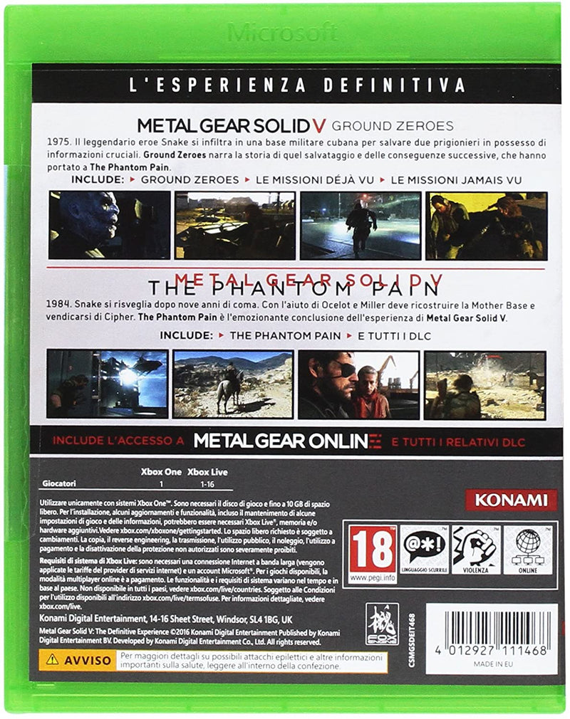 METAL GEAR SOLID V: THE DEFINITIVE EXPERIENCE XBOX ONE EDIZIONE ITALIANA