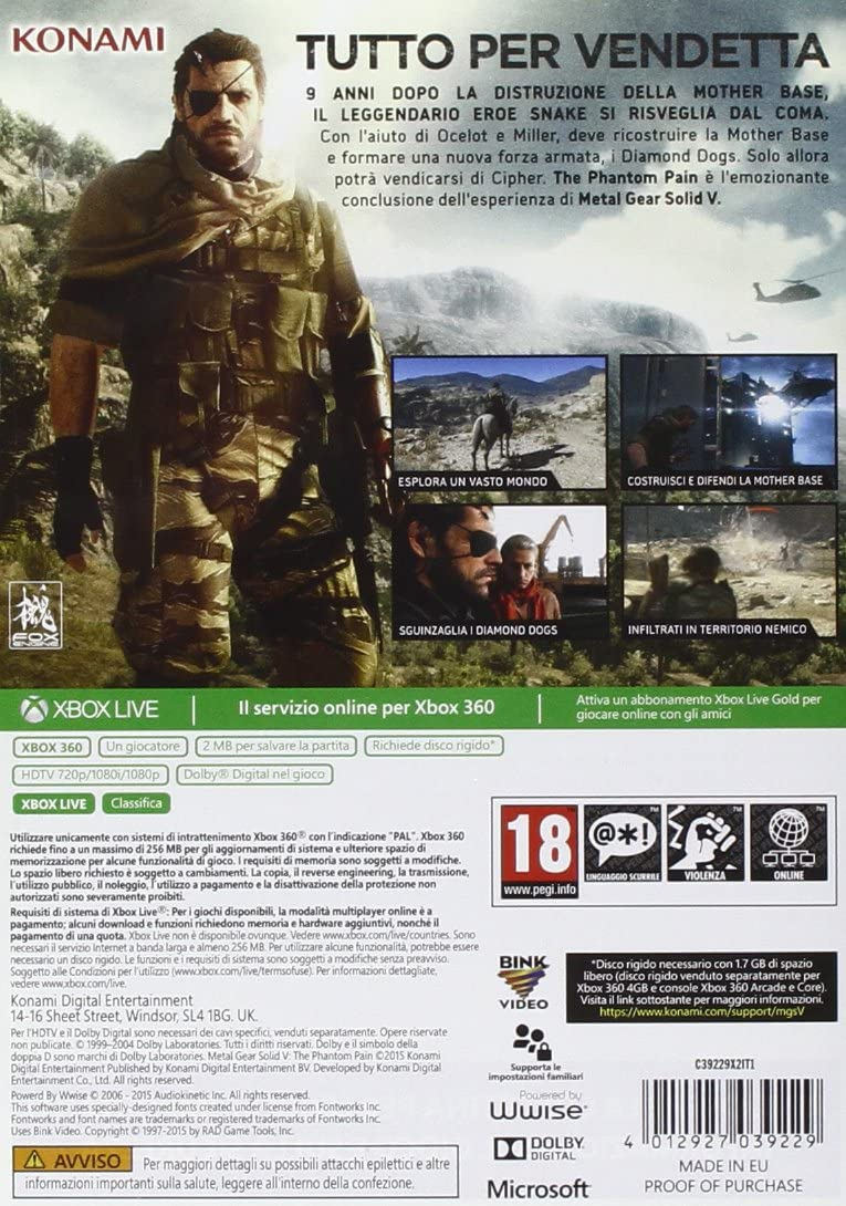 METAL GEAR SOLID V THE PHANTOM PAIN XBOX 360 EDIZIONE ITALIANA (4574403526710)