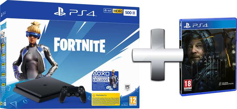 PS4 CONSOLE 500GB BLACK EU + FORTNITE VCH (2019) + DEATH STRANDING