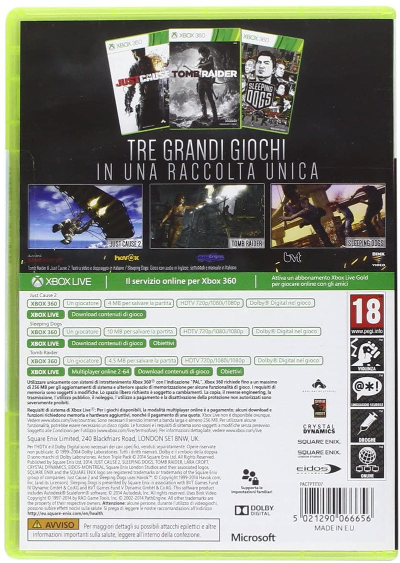ULTIMATE ACTION TRIPLE PACK - JUST CAUSE 2 - SLEEPING DOGS - TOMB RIDER - XBOX 360 EDIZIONE ITALIANA (4575583961142)