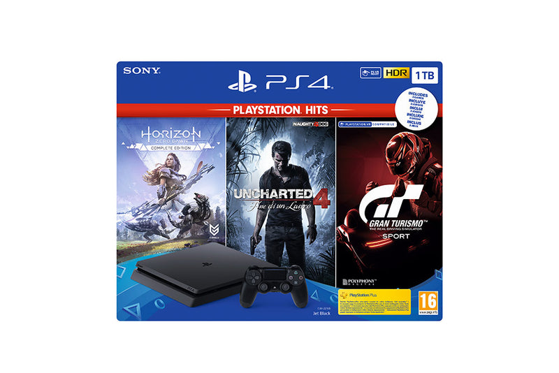 PLAYSTATION 4 SLIM 1TB (1000GB) + Horizon Zero Dawn Complete Ed. + Uncharted 4 + GT Sport